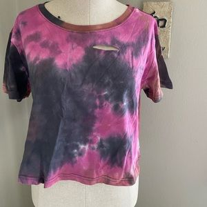 Cropped distressed tie-dyed t-shirt